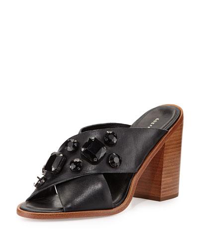 Etta Jeweled Leather Crisscross Mules