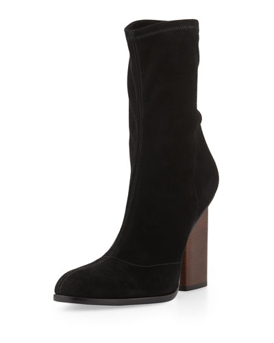 Black Stretch Suede Gia Boots
