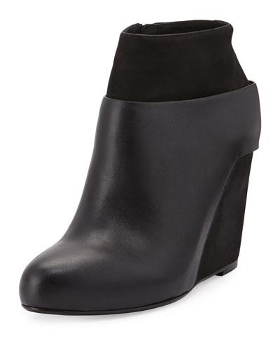 Garren Leather Wedge Ankle Bootie, Black