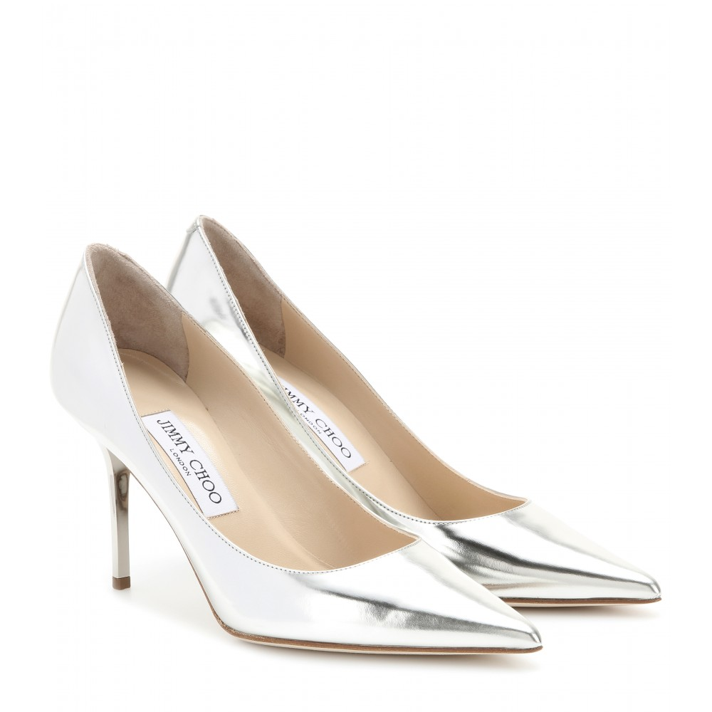ROMY 85 Silver Liquid Mirror Leather Pointy Toe Pumps