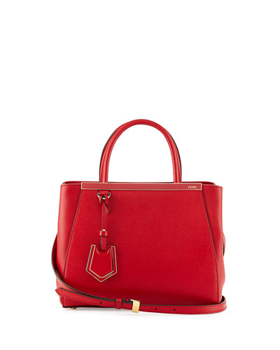 2JOURS PETITE LEATHER TOTE BAG, RUBY RED
