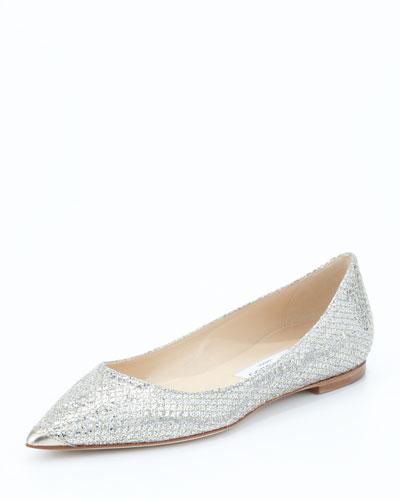 ROMY FLAT Silver Glitter Fabric Pointy Toe Flats