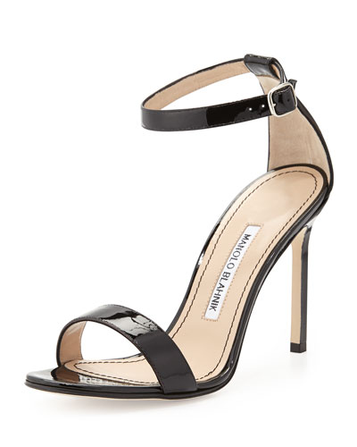 MANOLO BLAHNIK 115Mm Spezia Leather Sandals, Black