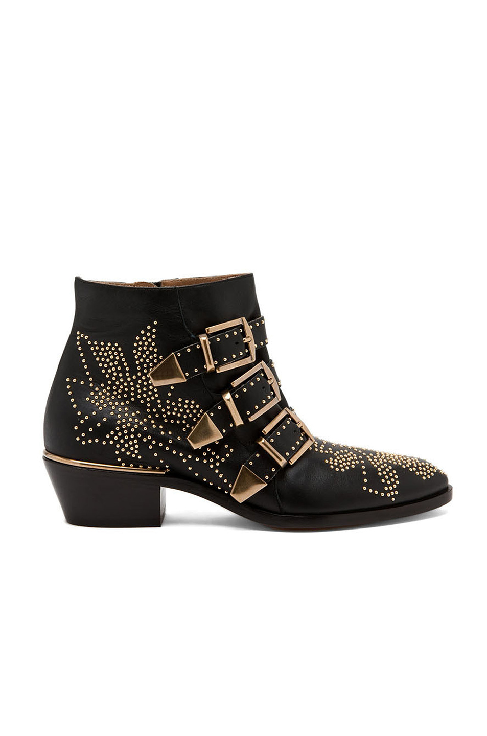 7 stores in stock chlo susanna studded buckled leather ankle boots black modesens. Black Bedroom Furniture Sets. Home Design Ideas