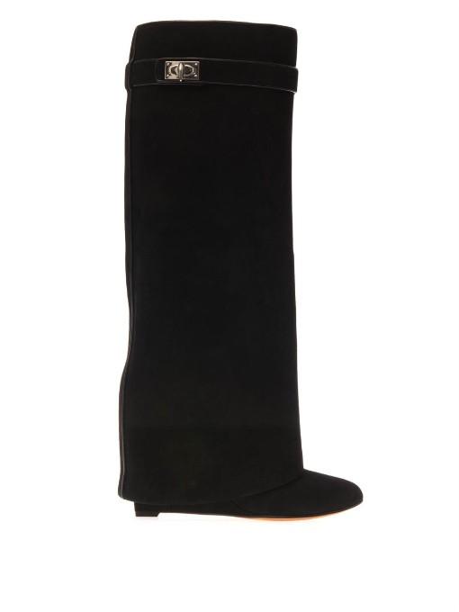 Shark Lock Knee-High Leather Wedge Boots