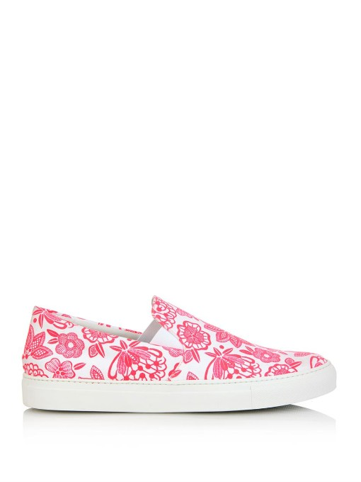Neon Flower-Print Canvas Trainers