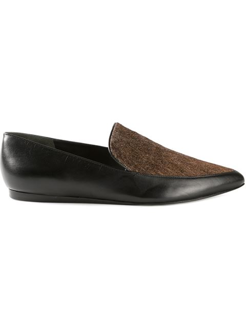 NIKITA POINTED-TOE CALF-HAIR/LEATHER LOAFER, BLACK
