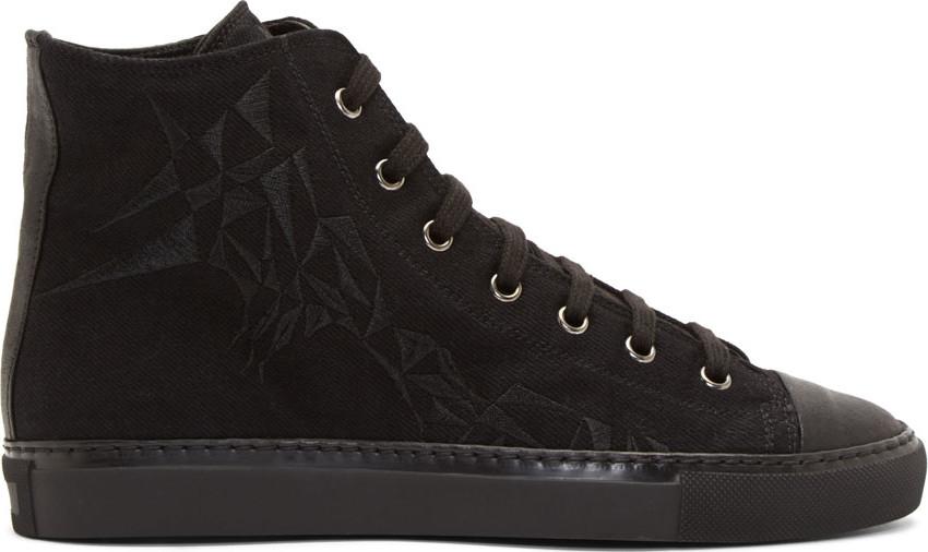 Black Prism-Embroidered Baseball Shoes
