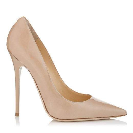 ROMY 100 Nude Patent Leather Pointy Toe Pumps