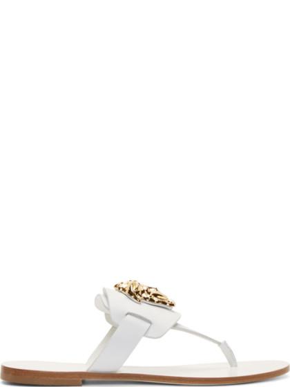 White Leather Medusa Logo Sandals