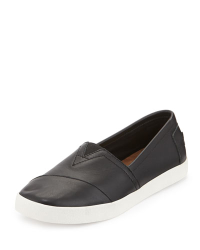 AVALON LEATHER SLIP-ON SNEAKER, BLACK