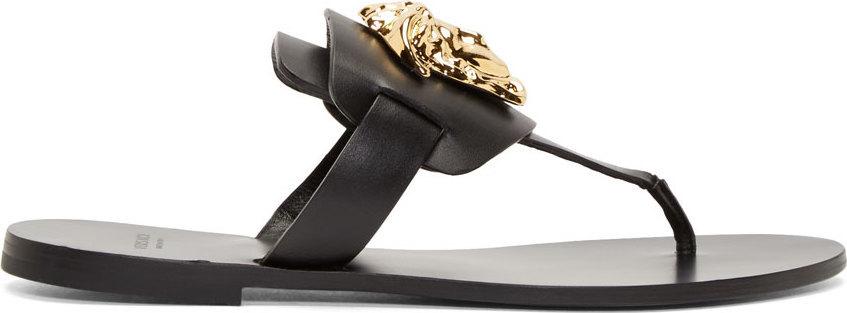 Black Leather Medusa Sandals