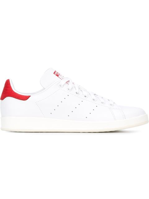 Stan Smith suede-trimmed laser-cut leather sneakers