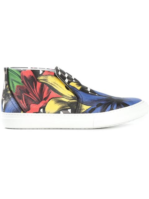 Cube Lily Print Leather Slip-Ons