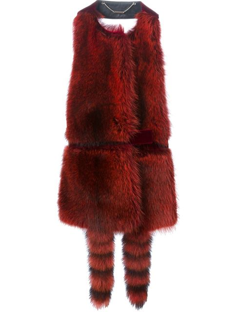 Red & Black Raccoon Fur Vest