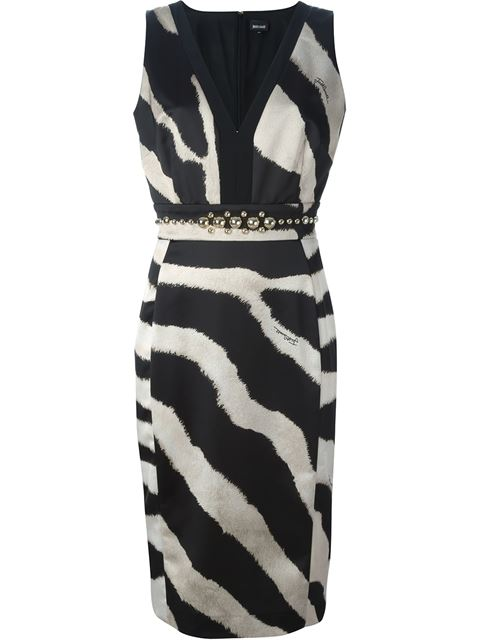 studded waist zebra print dress