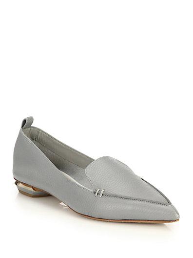 'Beya' metal heel leather skimmer loafers