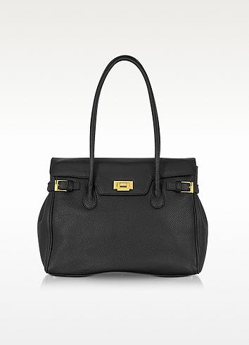 Black Embossed Leather Large Satchel Bag