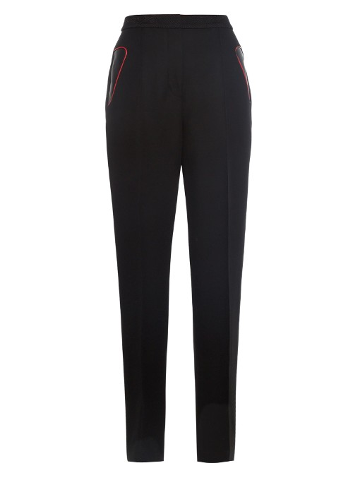 High-Waist Leather-Trim Trousers