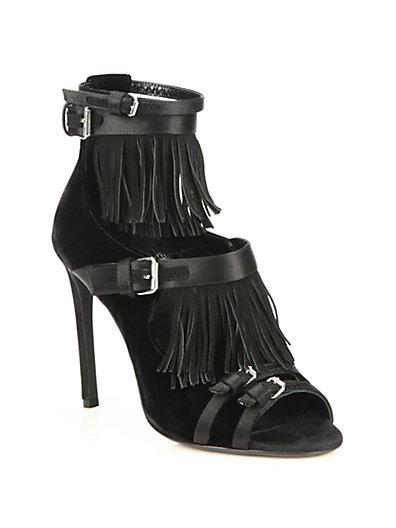 Velvet, Satin & Fringed Suede Buckled Sandals