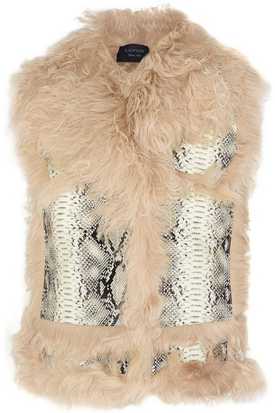 Shearling And Snake-Effect Leather Vest