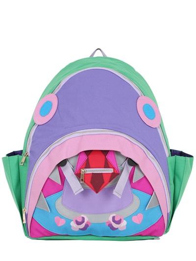 YANG DU Shark Patchwork Nylon Backpack, Green/Multi