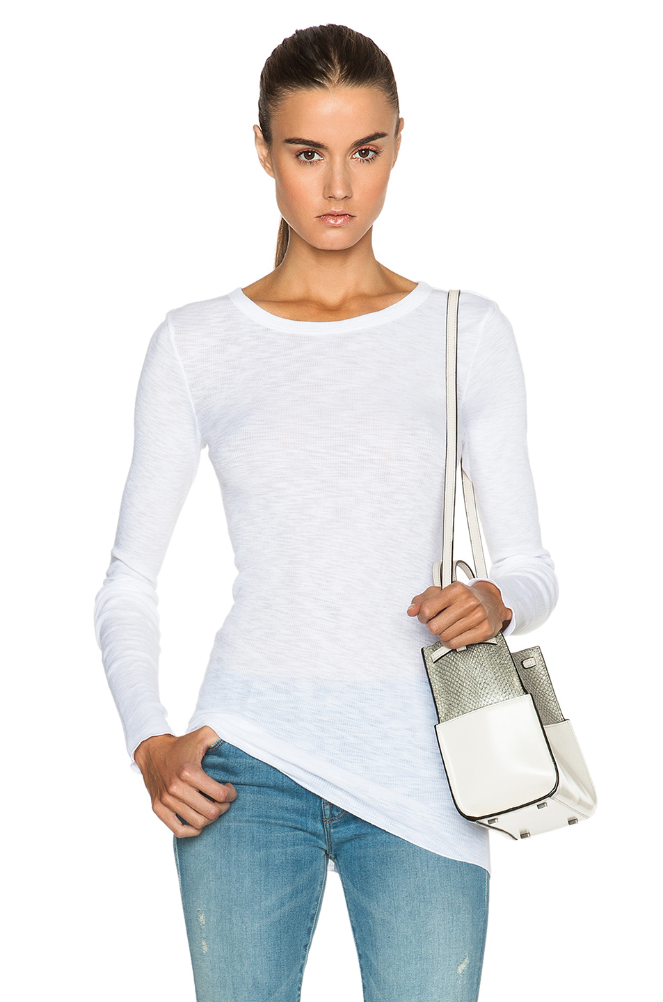 Enza Costa Cottons ENZA COSTA RIB LONG SLEEVE CREW TOP IN WHITE.