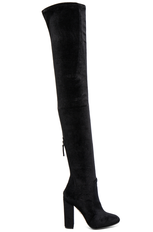 aquazzura velvet the knee boots