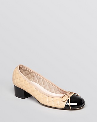 WOMEN'S TITOU QUILTED LEATHER CAP TOE BLOCK HEEL PUMPS