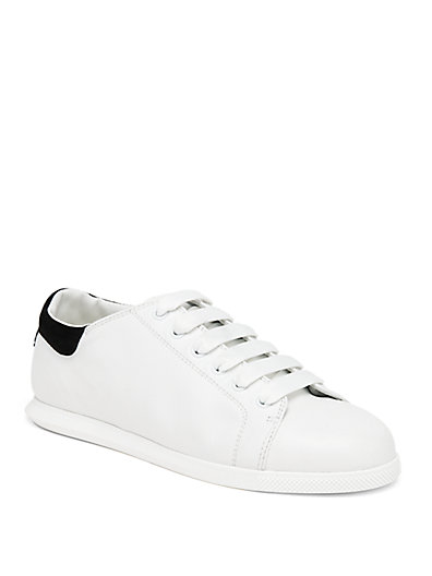 Suede Collar Leather Sneakers