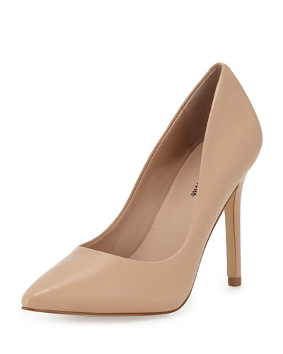 Prestige Leather Pointed-Toe Pump, Nude