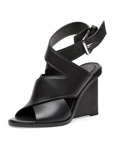 Elisa Leather Wedge Sandal, Black