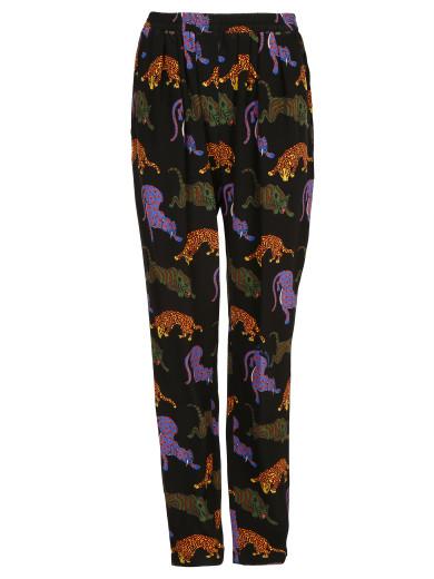 Pantalone Seta Stampa Tigri