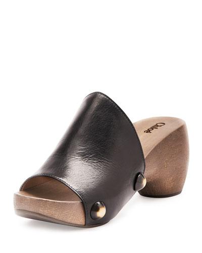 Izzi Horn-Rivet Leather Clogs