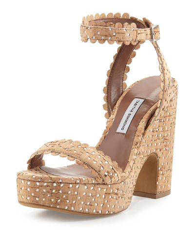Natural Perforated Cork Harlow Platform Sandal