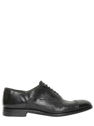 ALBERTO FASCIANI BRUSHED LEATHER OXFORD LACE-UP SHOES