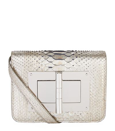 Natalia Medium Metallic Python Shoulder Bag