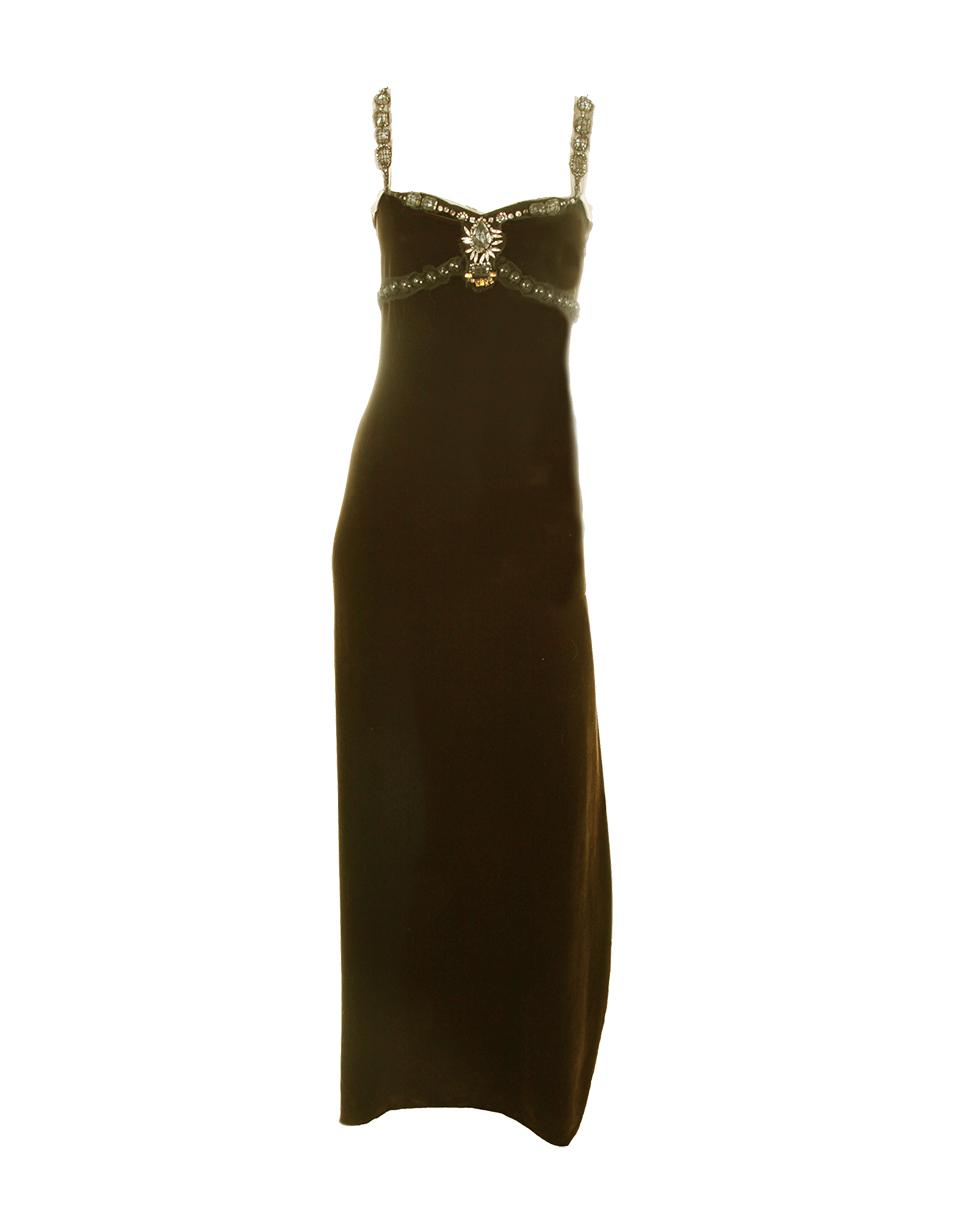 Velvet Beaded Detail Gown