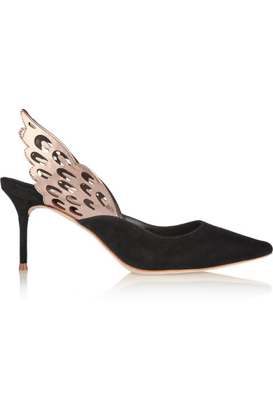 Angelo cutout metallic-trimmed leather and suede slingback pumps