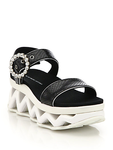 Ninja Wave Snake-Embossed Leather Platform Wedge Sandals