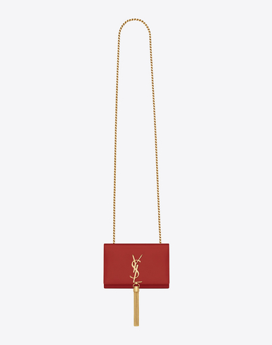 CLASSIC SMALL KATE TASSEL SATCHEL IN LIPSTICK RED LEATHER