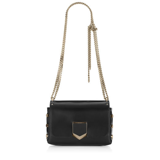 LOCKETT PETITE Black and Chrome Spazzolato Leather Shoulder Bag