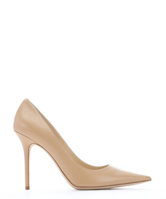 ROMY 100 Nude Kid Leather Pointy Toe Pumps