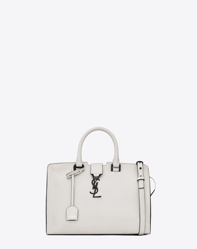 SMALL MONOGRAM CABAS BAG IN DOVE WHITE AND BLACK LEATHER