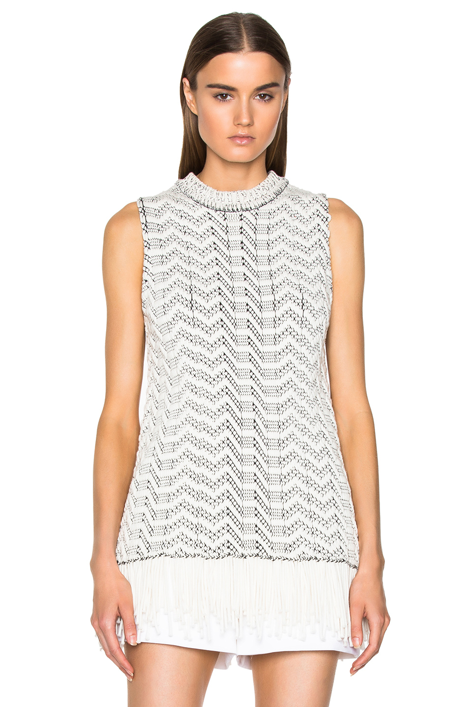 Weaving Jacquard Sleeveless Crewneck Sweater