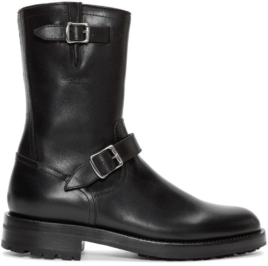 laurent black leather buckle combat boots