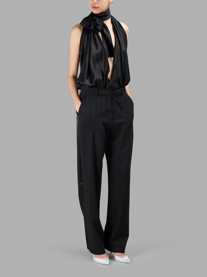 Faille And Wool-Blend Halterneck Jumpsuit