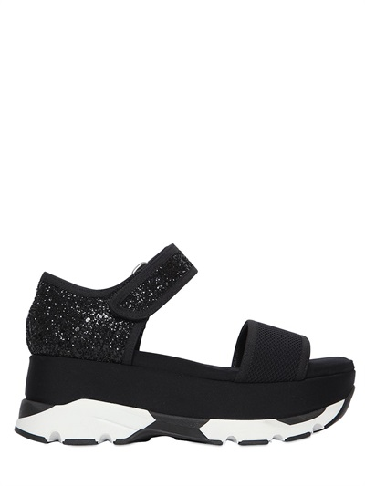 Platform Sandals with Leather, Mesh and Glitter