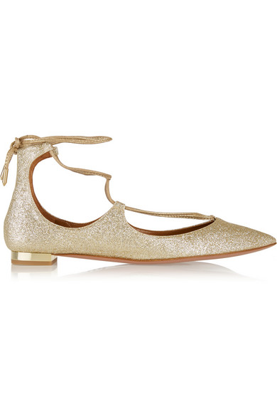 WOMAN CHRISTY GLITTERED LEATHER POINT-TOE FLATS GOLD