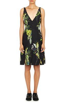 SLEEVELESS FLORAL-PRINT SHEATH DRESS, BLACK/GREEN/CHARTREUSE, BK/GR/CHAR FLORAL